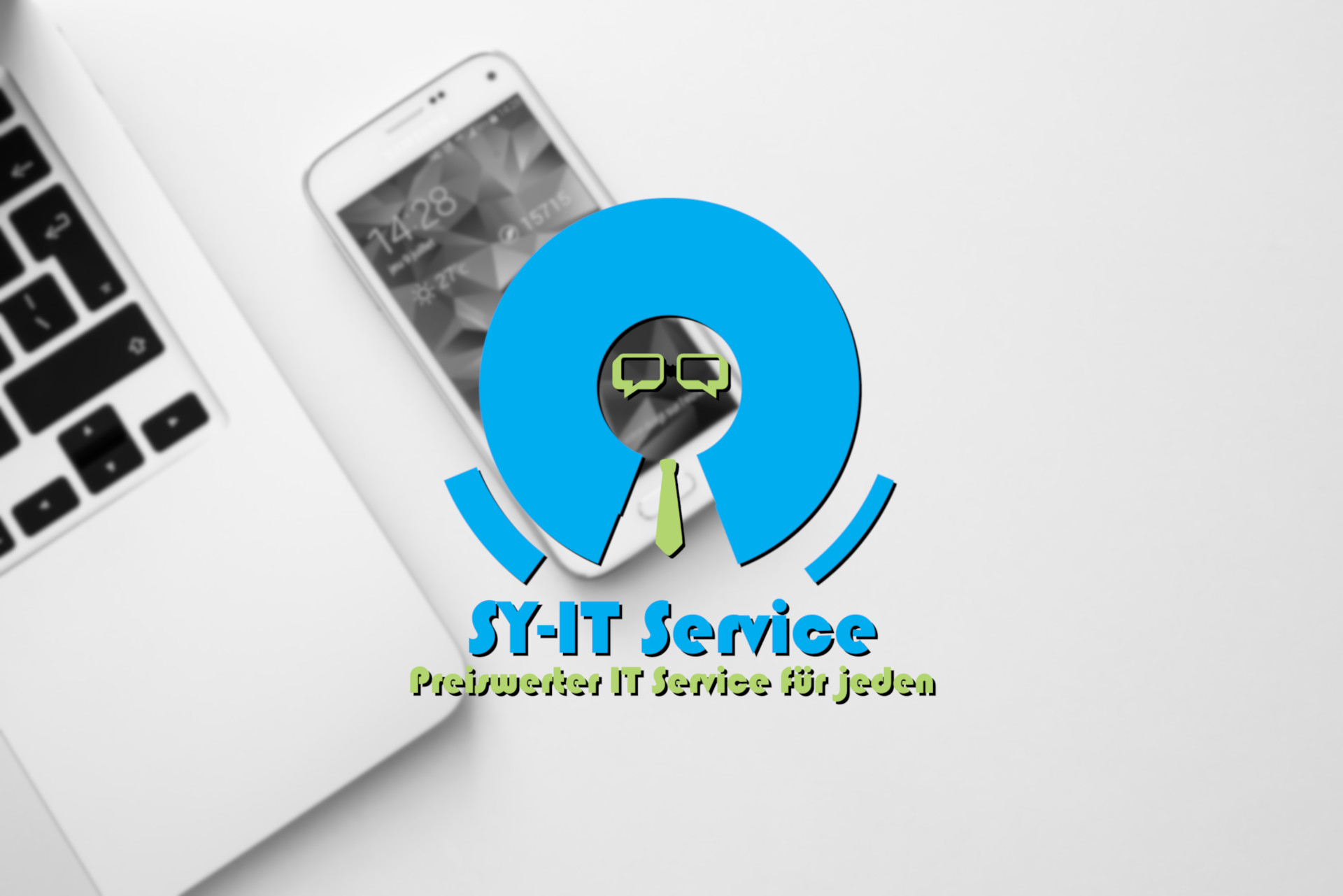 SY-IT Service Logo auf weißem Hintergrund mit Laptop und Smartphone